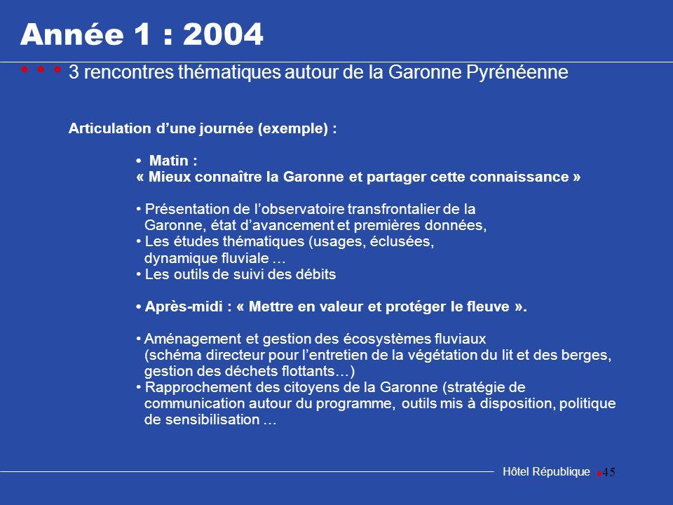 45 Hôtel République Articulation dune journée (exemple) : Matin : « Mieux connaître la Garonne et partager cette connaissance » Présentation de lobser