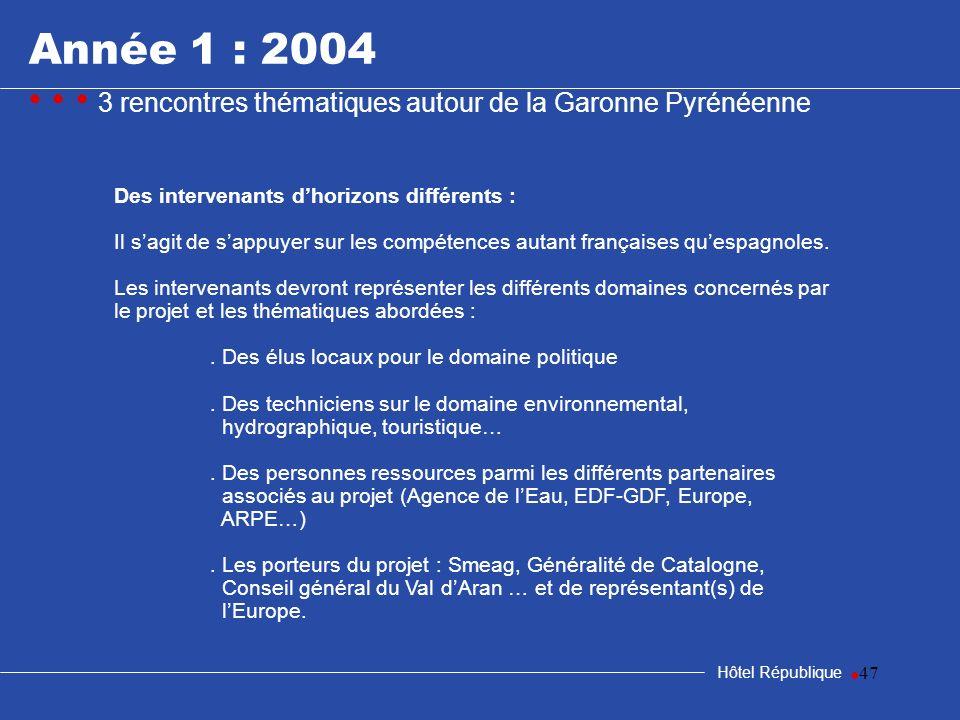 47 Hôtel République Des intervenants dhorizons différents : Il sagit de sappuyer sur les compétences autant françaises quespagnoles. Les intervenants
