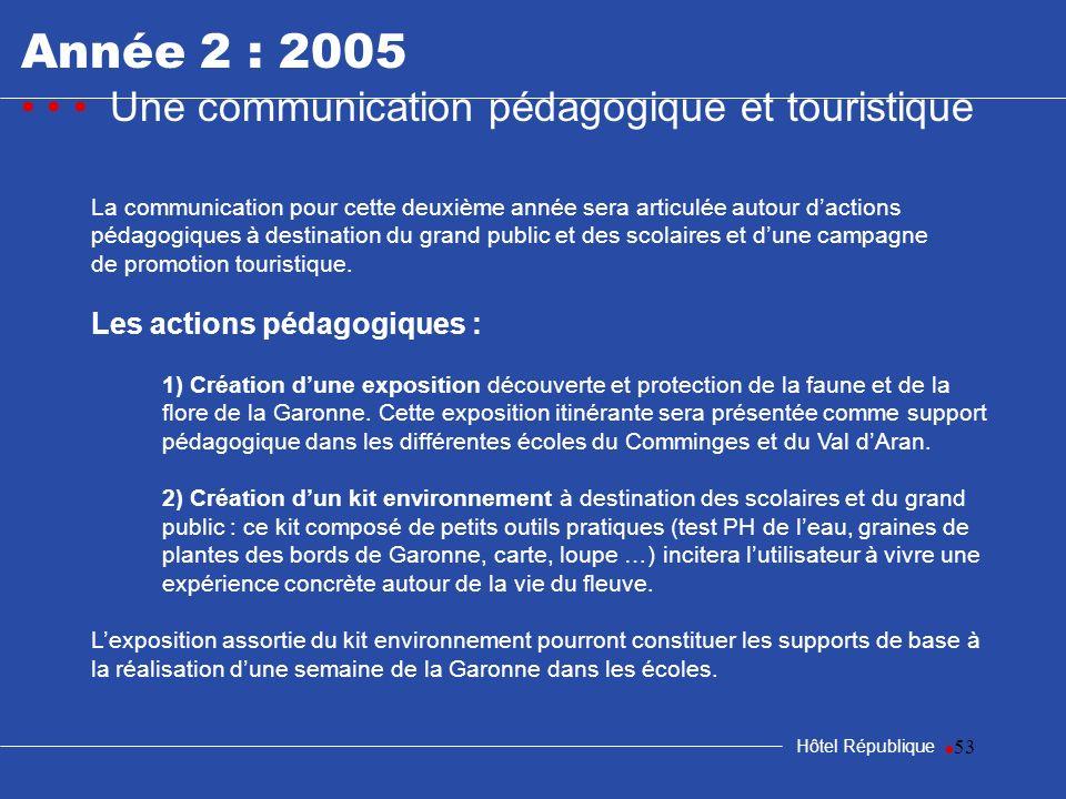 53 Hôtel République La communication pour cette deuxième année sera articulée autour dactions pédagogiques à destination du grand public et des scolai