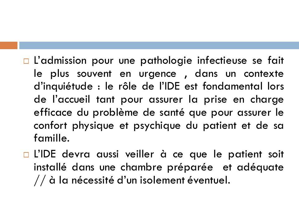 Ladmission pour une pathologie infectieuse se fait le plus souvent en urgence, dans un contexte dinquiétude : le rôle de lIDE est fondamental lors de