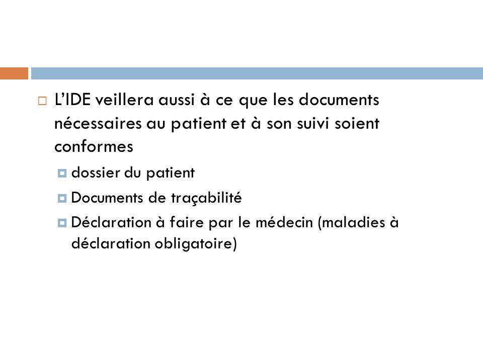 LIDE veillera aussi à ce que les documents nécessaires au patient et à son suivi soient conformes dossier du patient Documents de traçabilité Déclarat