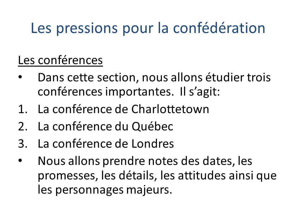 Les pressions pour la confédération Les conférences Dans cette section, nous allons étudier trois conférences importantes. Il sagit: 1.La conférence d