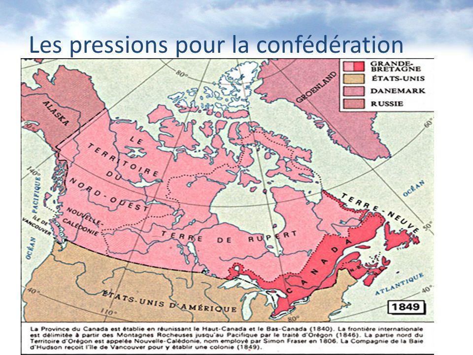 En 1849, la situation se décrit comme suit: 1.Le Haut-Canada (se que nous on appelle Ontario aujourdhui) se réunis avec le Bas- Canada (le Québec, N.-B., N.-E., T.-N.