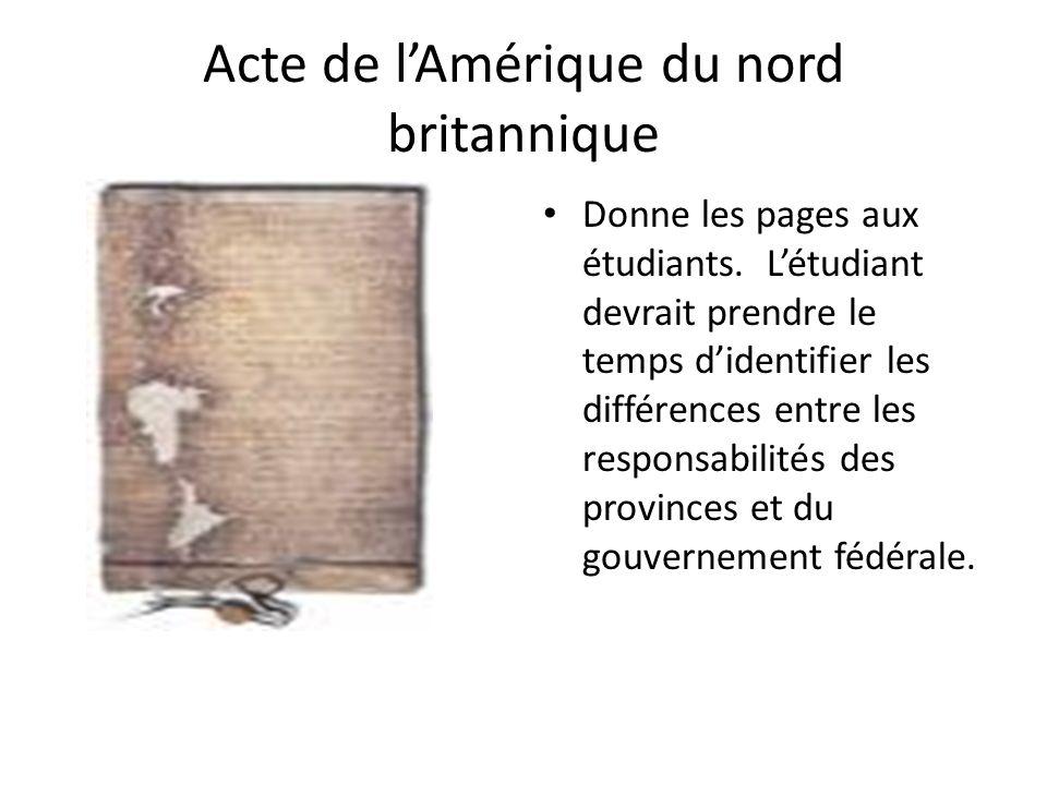 Acte de lAmérique du nord britannique Donne les pages aux étudiants. Létudiant devrait prendre le temps didentifier les différences entre les responsa