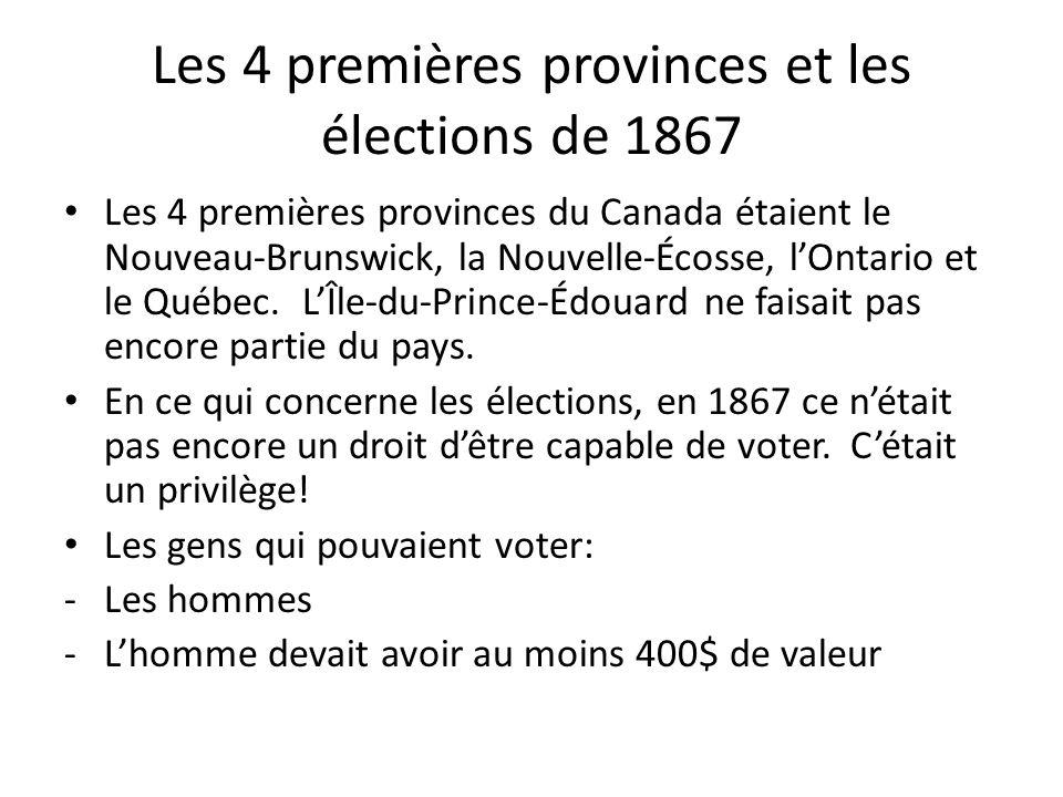 Les 4 premières provinces et les élections de 1867 Les 4 premières provinces du Canada étaient le Nouveau-Brunswick, la Nouvelle-Écosse, lOntario et l