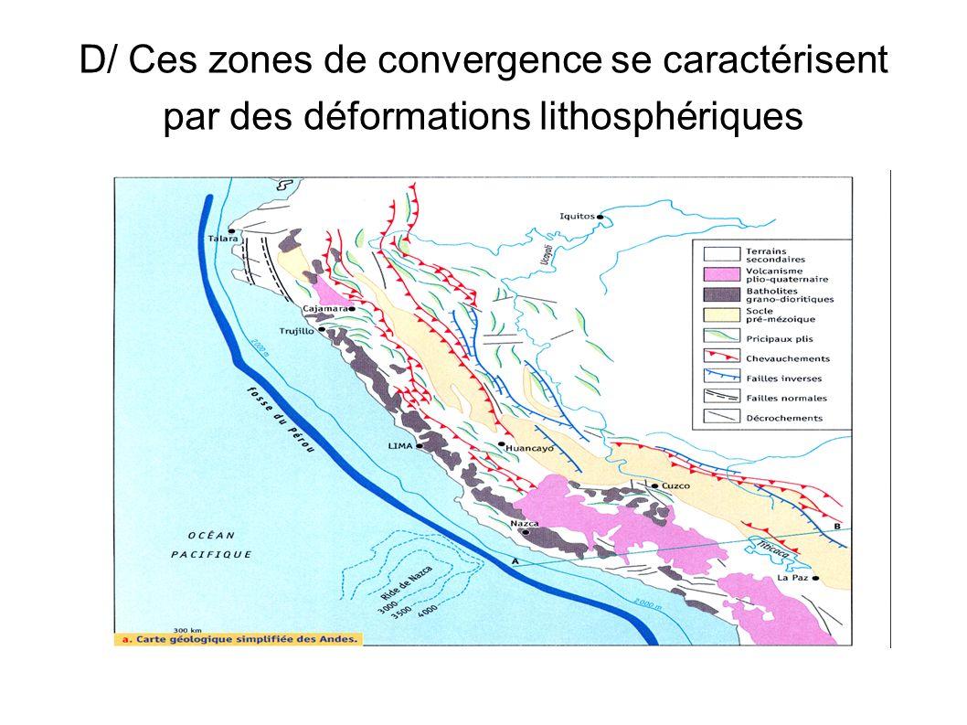 D/ Ces zones de convergence se caractérisent par des déformations lithosphériques