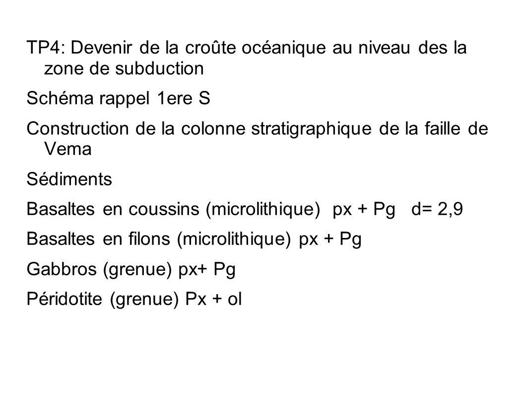 TP4: Devenir de la croûte océanique au niveau des la zone de subduction Schéma rappel 1ere S Construction de la colonne stratigraphique de la faille d