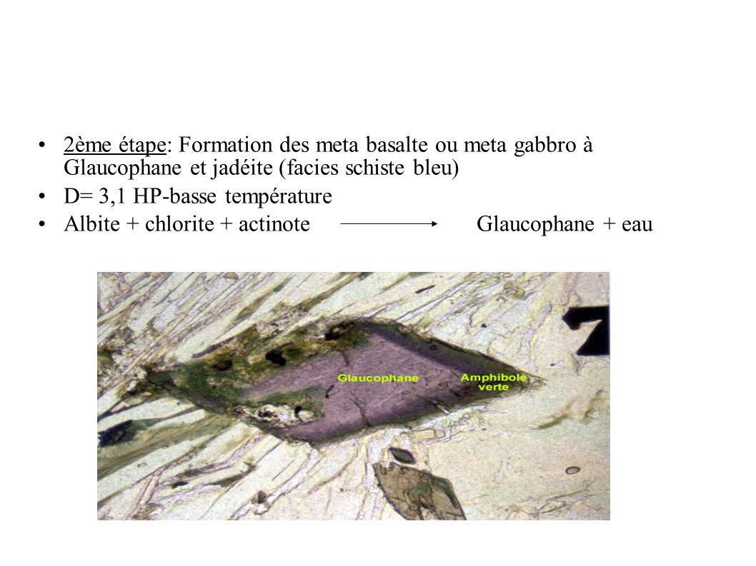 2ème étape: Formation des meta basalte ou meta gabbro à Glaucophane et jadéite (facies schiste bleu) D= 3,1 HP-basse température Albite + chlorite + a