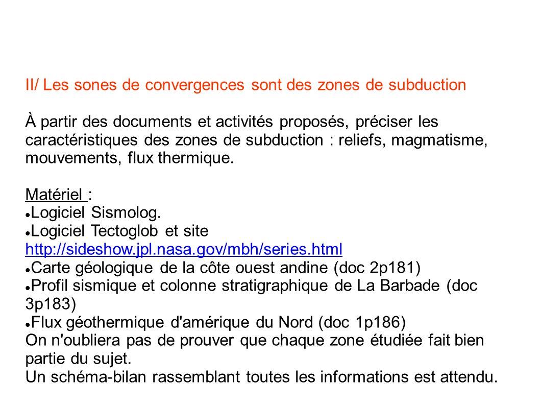 II/ Les sones de convergences sont des zones de subduction À partir des documents et activités proposés, préciser les caractéristiques des zones de su