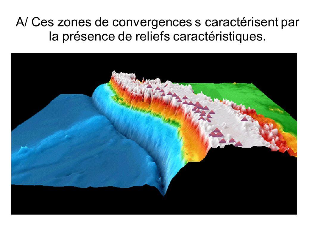 Au niveau d une zone de subduction, la frontière des plaques est marquée par la présence de : Reliefs négatifs : les fosses océaniques.