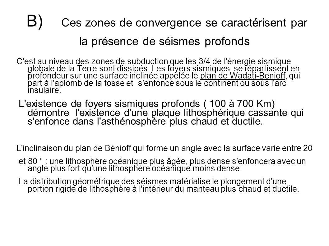 B) Ces zones de convergence se caractérisent par la présence de séismes profonds C'est au niveau des zones de subduction que les 3/4 de l'énergie sism