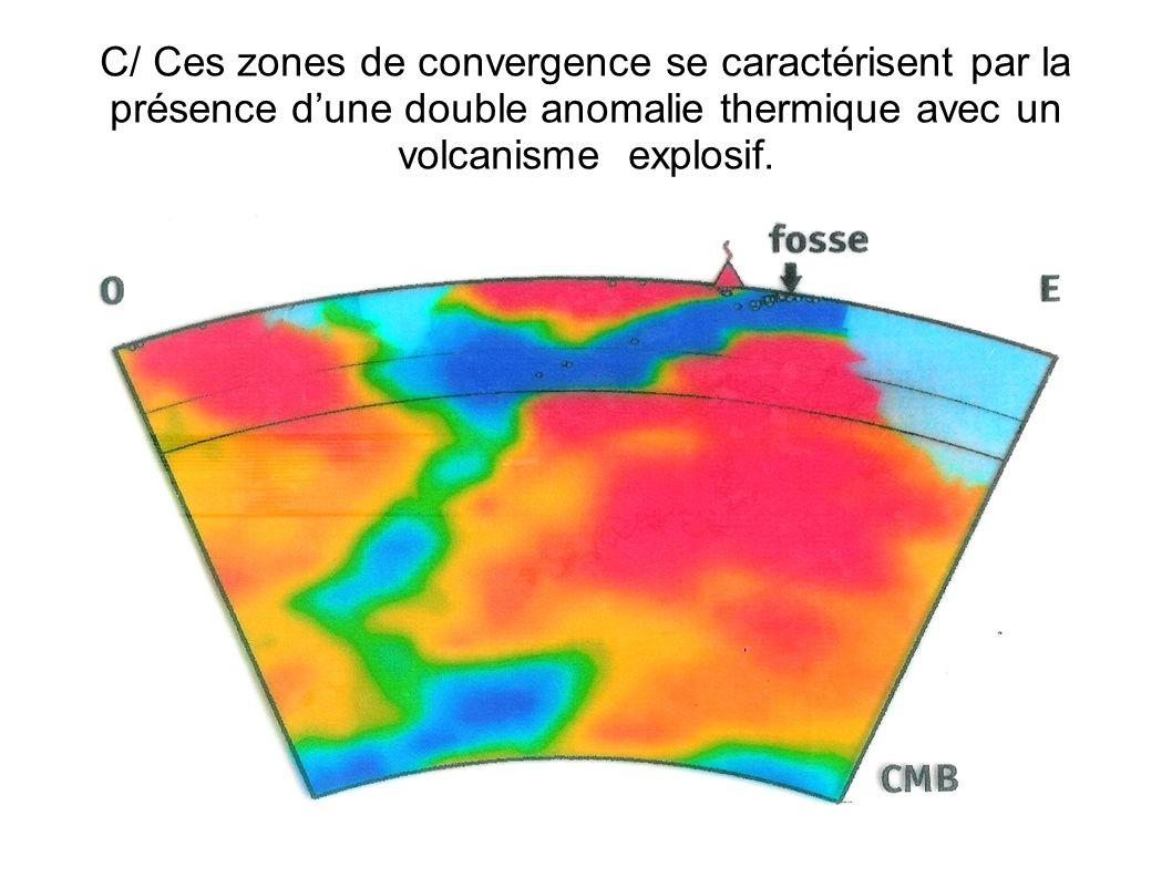 C/ Ces zones de convergence se caractérisent par la présence dune double anomalie thermique avec un volcanisme explosif.