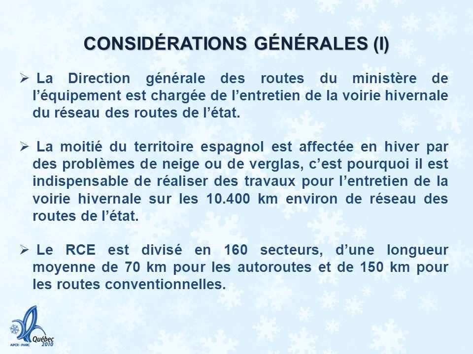 CONSIDERATIONS GENERALES (II) Les travaux pour lentretien de la voirie hivernale sur le réseau des routes de létat sont réalisés au travers de contrats de conservation intégrale.
