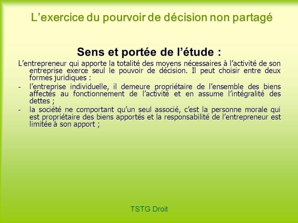 TSTG Droit Définition de lentreprise individuelle : Entreprise exploitée par une personne physique seule qui utilise des éléments de son patrimoine pour exercer son activité professionnelle.
