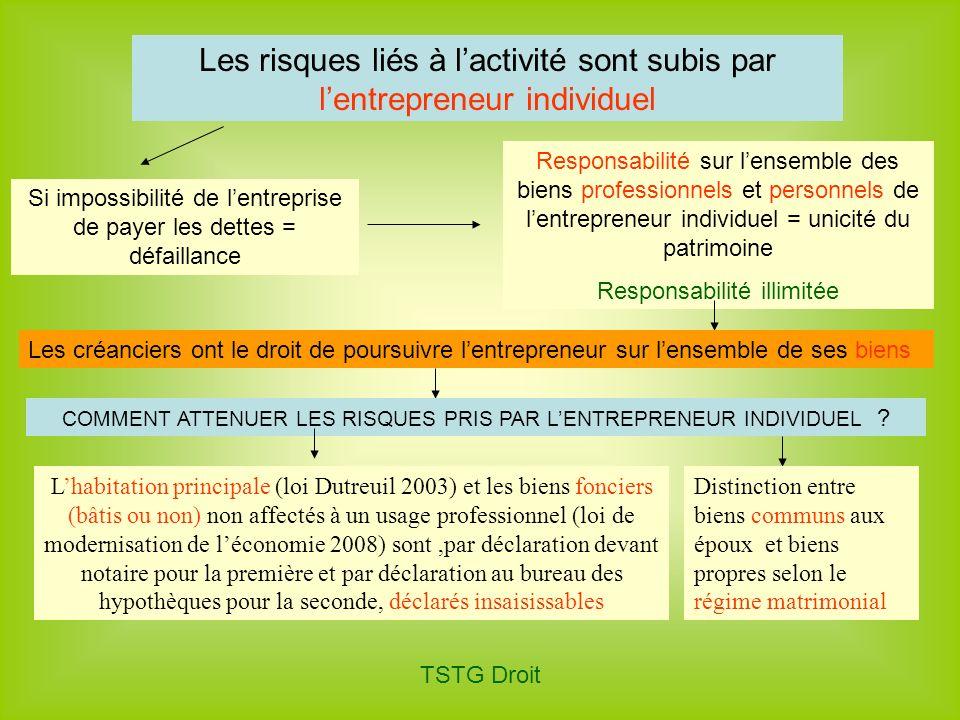 TSTG Droit Les risques liés à lactivité sont subis par lentrepreneur individuel Si impossibilité de lentreprise de payer les dettes = défaillance Resp