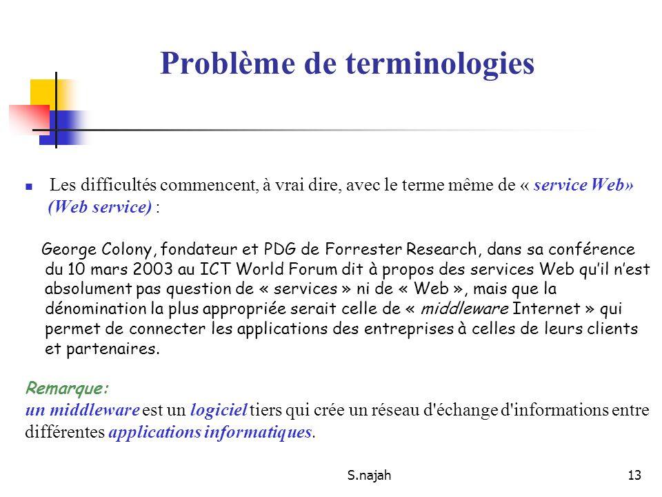 S.najah13 Problème de terminologies Les difficultés commencent, à vrai dire, avec le terme même de « service Web» (Web service) : George Colony, fonda