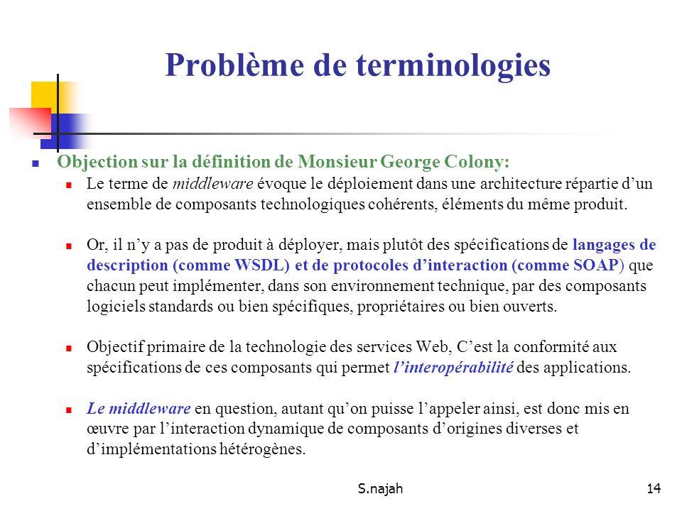 S.najah14 Objection sur la définition de Monsieur George Colony: Le terme de middleware évoque le déploiement dans une architecture répartie dun ensem