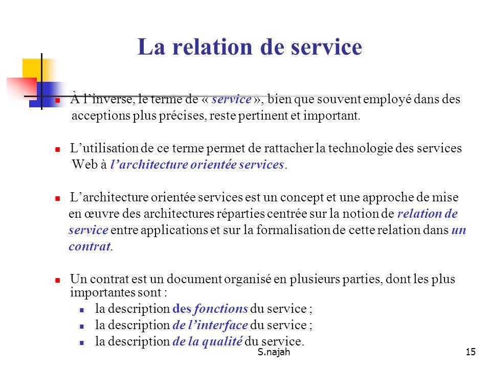 S.najah15 À linverse, le terme de « service », bien que souvent employé dans des acceptions plus précises, reste pertinent et important. Lutilisation