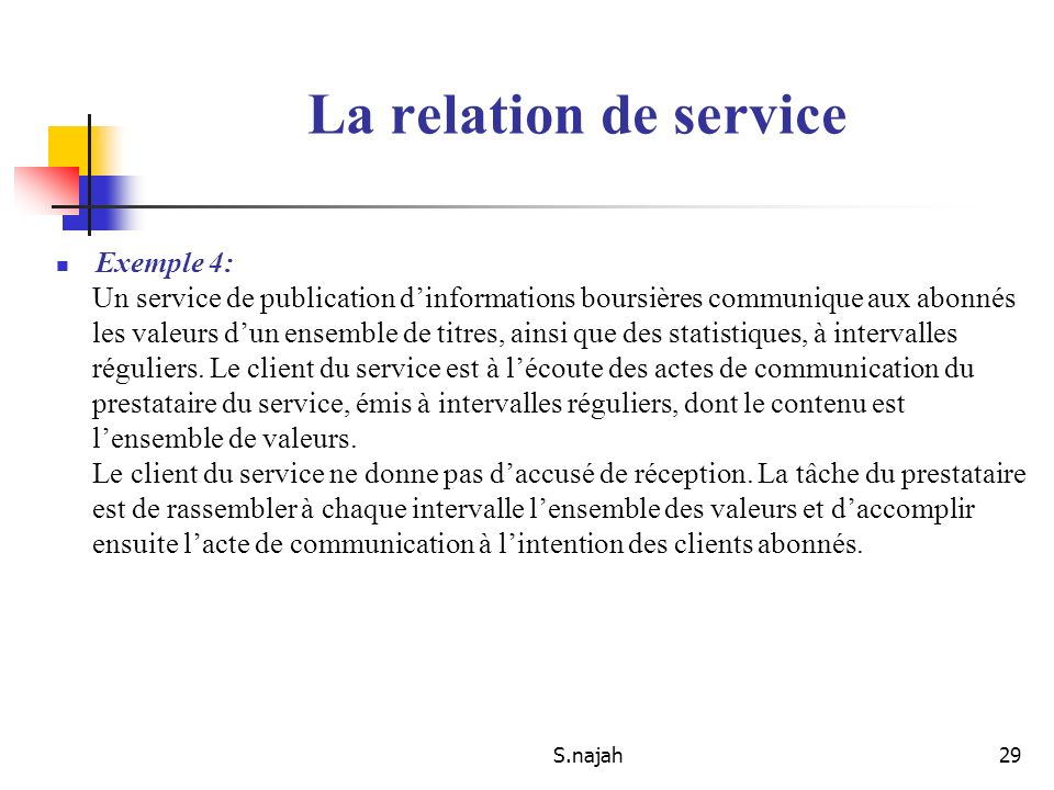 S.najah29 Exemple 4: Un service de publication dinformations boursières communique aux abonnés les valeurs dun ensemble de titres, ainsi que des stati