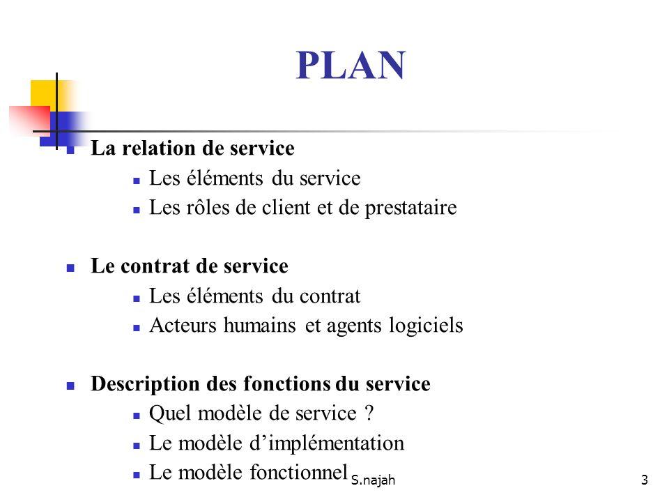 S.najah3 PLAN La relation de service Les éléments du service Les rôles de client et de prestataire Le contrat de service Les éléments du contrat Acteu