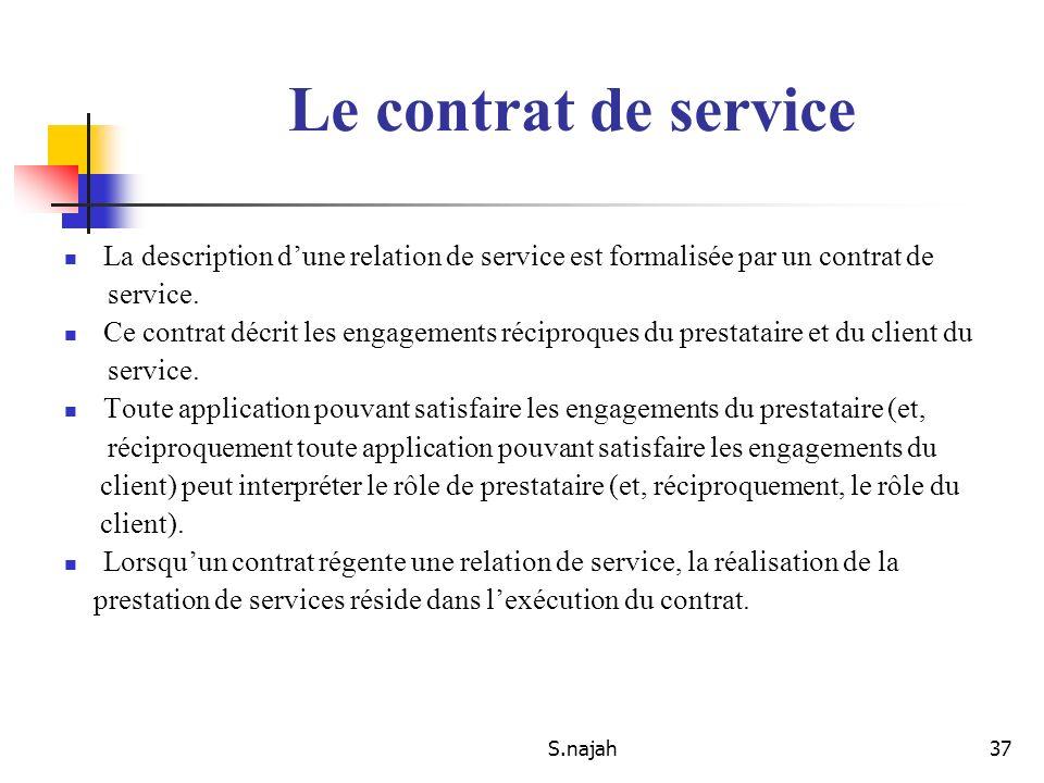 S.najah37 La description dune relation de service est formalisée par un contrat de service. Ce contrat décrit les engagements réciproques du prestatai