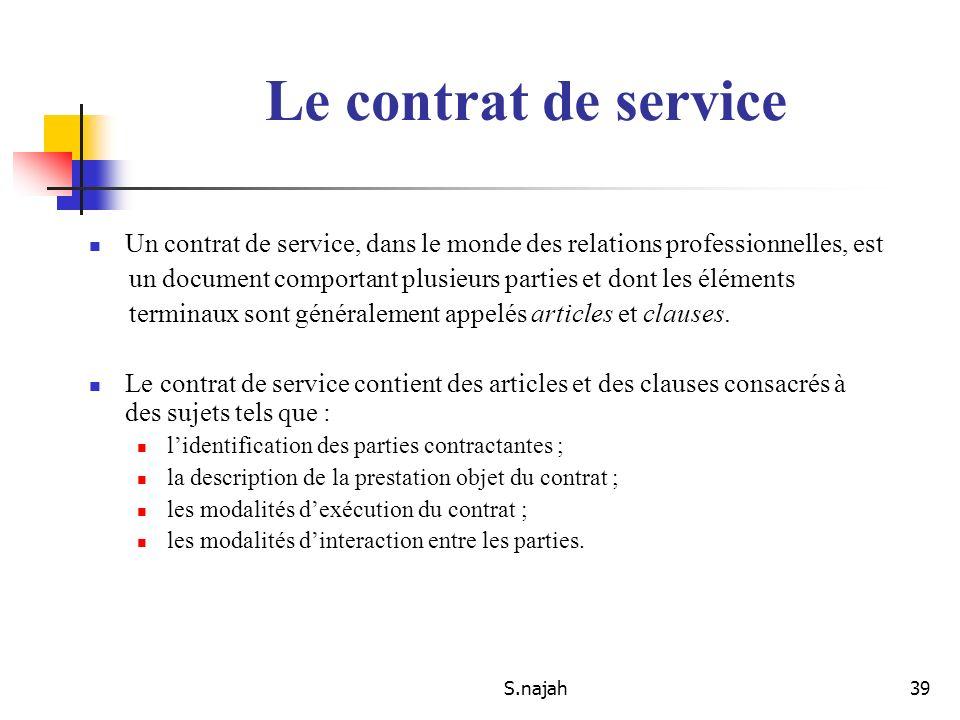 S.najah39 Un contrat de service, dans le monde des relations professionnelles, est un document comportant plusieurs parties et dont les éléments termi