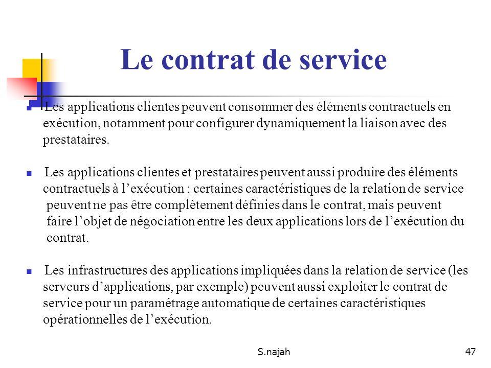 S.najah47 Les applications clientes peuvent consommer des éléments contractuels en exécution, notamment pour configurer dynamiquement la liaison avec