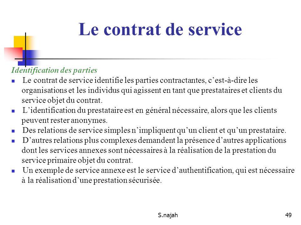 S.najah49 Identification des parties Le contrat de service identifie les parties contractantes, cest-à-dire les organisations et les individus qui agi