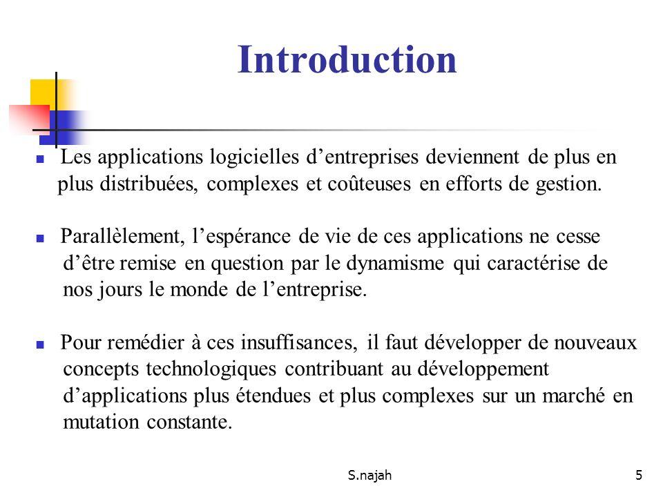 S.najah5 Les applications logicielles dentreprises deviennent de plus en plus distribuées, complexes et coûteuses en efforts de gestion. Parallèlement