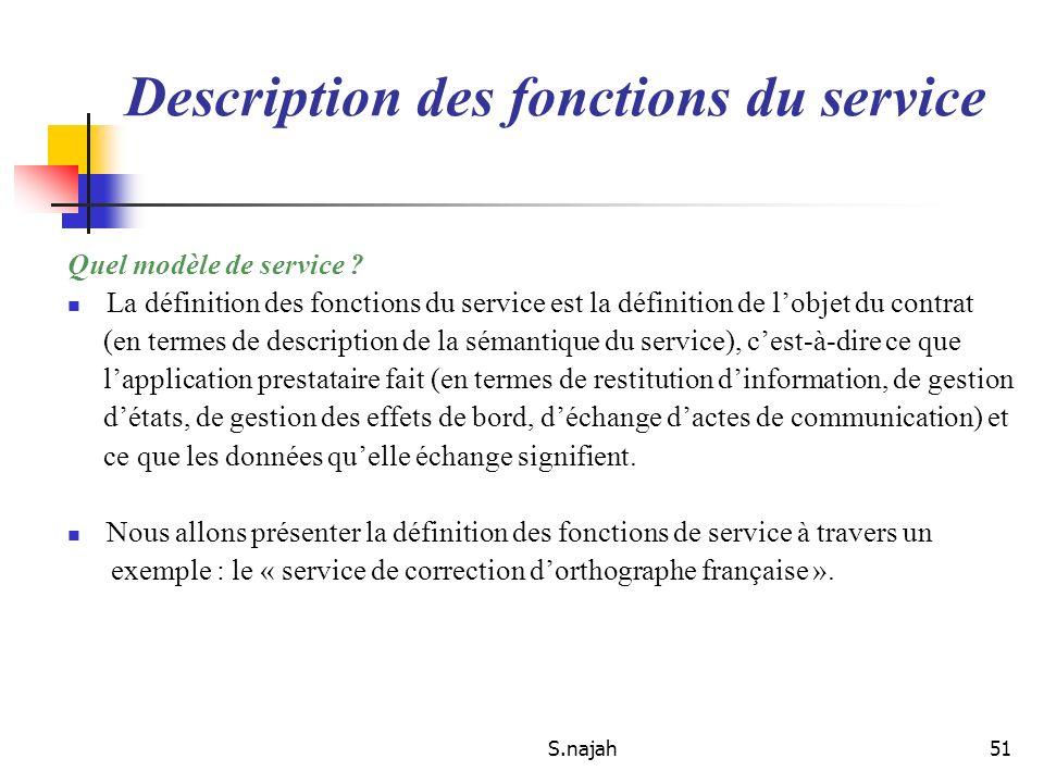 S.najah51 Quel modèle de service ? La définition des fonctions du service est la définition de lobjet du contrat (en termes de description de la séman
