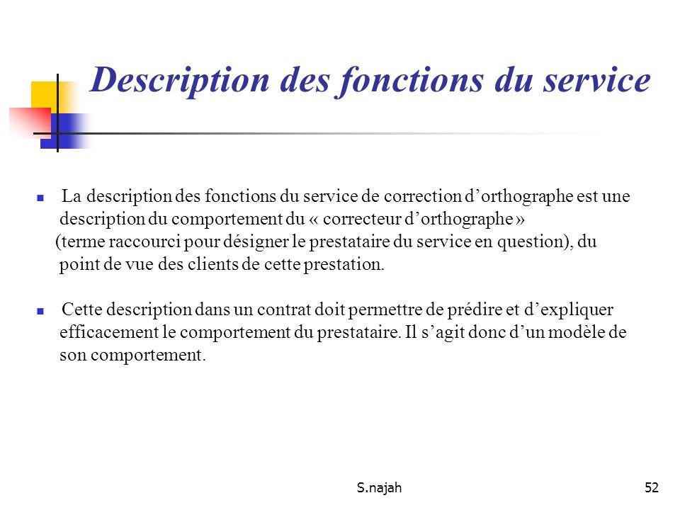 S.najah52 Description des fonctions du service La description des fonctions du service de correction dorthographe est une description du comportement