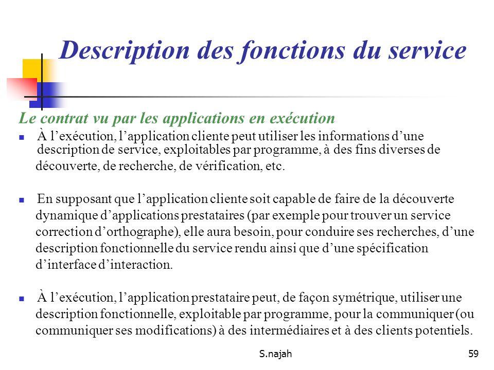 S.najah59 Le contrat vu par les applications en exécution À lexécution, lapplication cliente peut utiliser les informations dune description de servic