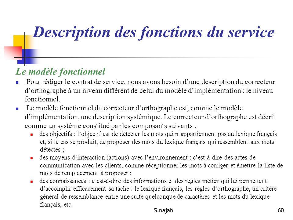 S.najah60 Le modèle fonctionnel Pour rédiger le contrat de service, nous avons besoin dune description du correcteur dorthographe à un niveau différen