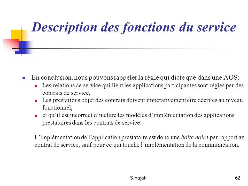 S.najah62 En conclusion, nous pouvons rappeler la règle qui dicte que dans une AOS: Les relations de service qui lient les applications participantes