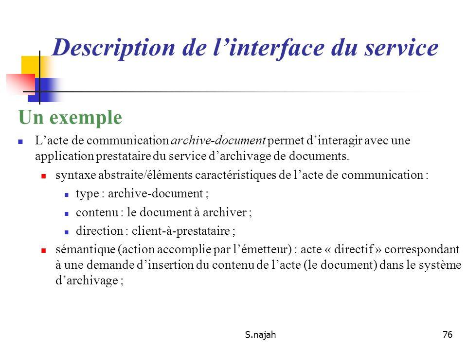 S.najah76 Un exemple Lacte de communication archive-document permet dinteragir avec une application prestataire du service darchivage de documents. sy