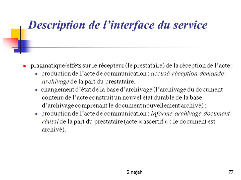 S.najah77 Description de linterface du service pragmatique/effets sur le récepteur (le prestataire) de la réception de lacte : production de lacte de