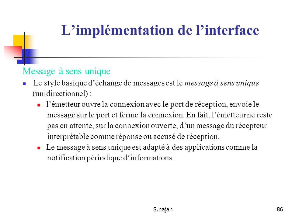 S.najah86 Limplémentation de linterface Message à sens unique Le style basique déchange de messages est le message à sens unique (unidirectionnel) : l