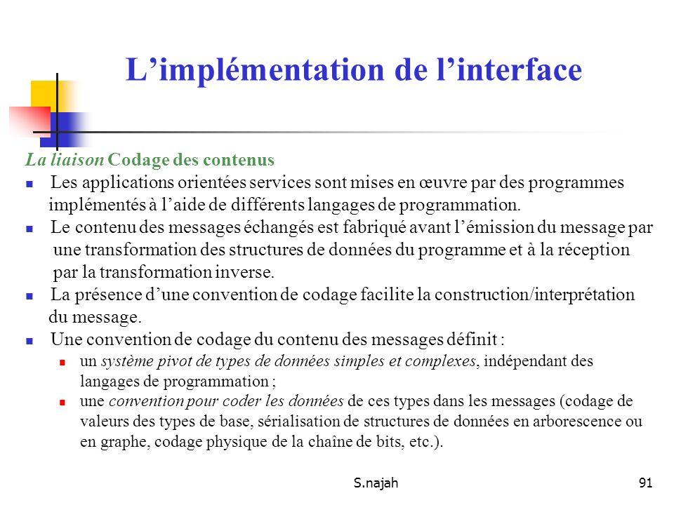 S.najah91 La liaison Codage des contenus Les applications orientées services sont mises en œuvre par des programmes implémentés à laide de différents
