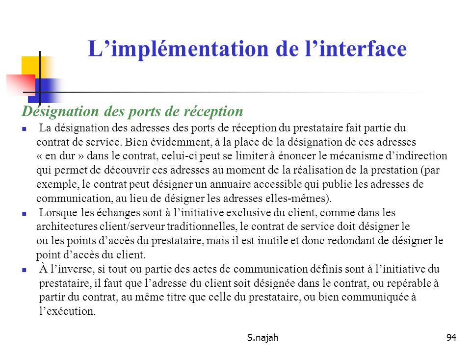 S.najah94 Désignation des ports de réception La désignation des adresses des ports de réception du prestataire fait partie du contrat de service. Bien
