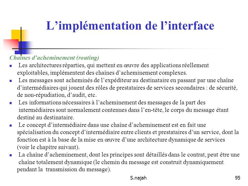 S.najah95 Chaînes dacheminement (routing) Les architectures réparties, qui mettent en œuvre des applications réellement exploitables, implémentent des