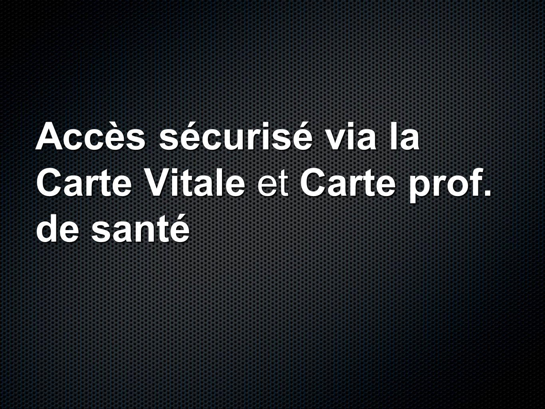 Accès sécurisé via la Carte Vitale et Carte prof. de santé