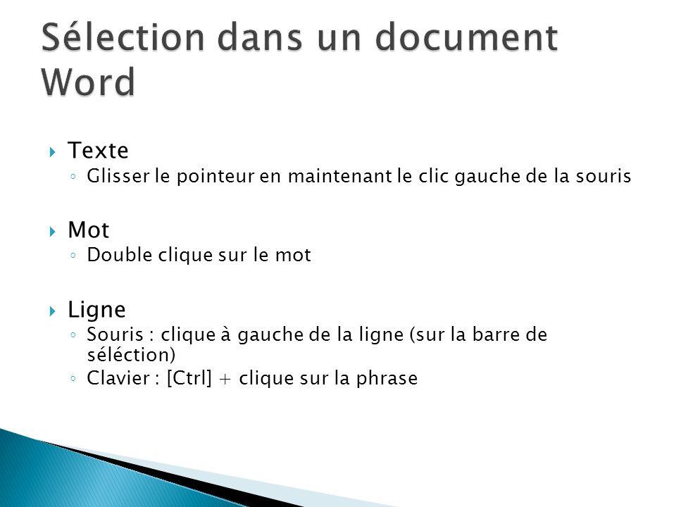 Texte Glisser le pointeur en maintenant le clic gauche de la souris Mot Double clique sur le mot Ligne Souris : clique à gauche de la ligne (sur la ba