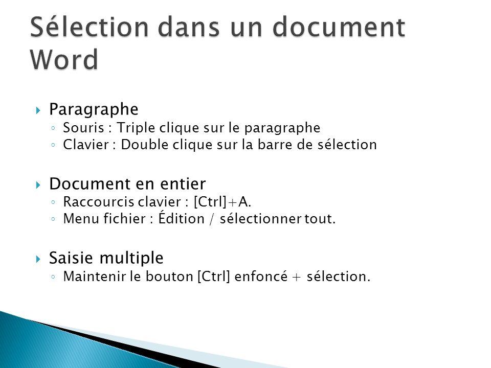 Paragraphe Souris : Triple clique sur le paragraphe Clavier : Double clique sur la barre de sélection Document en entier Raccourcis clavier : [Ctrl]+A