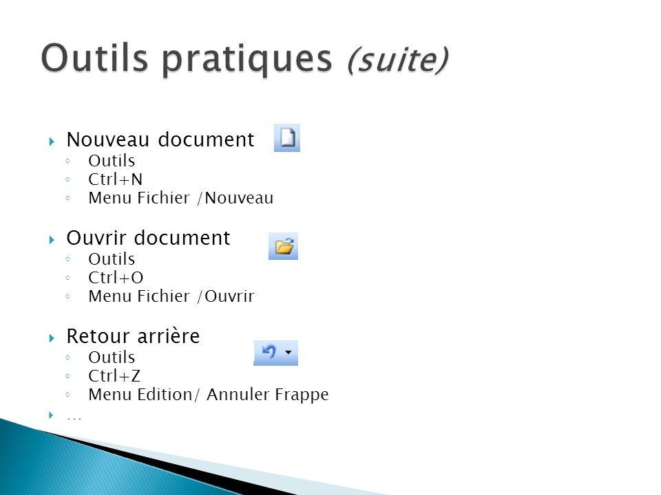 Nouveau document Outils Ctrl+N Menu Fichier /Nouveau Ouvrir document Outils Ctrl+O Menu Fichier /Ouvrir Retour arrière Outils Ctrl+Z Menu Edition/ Ann