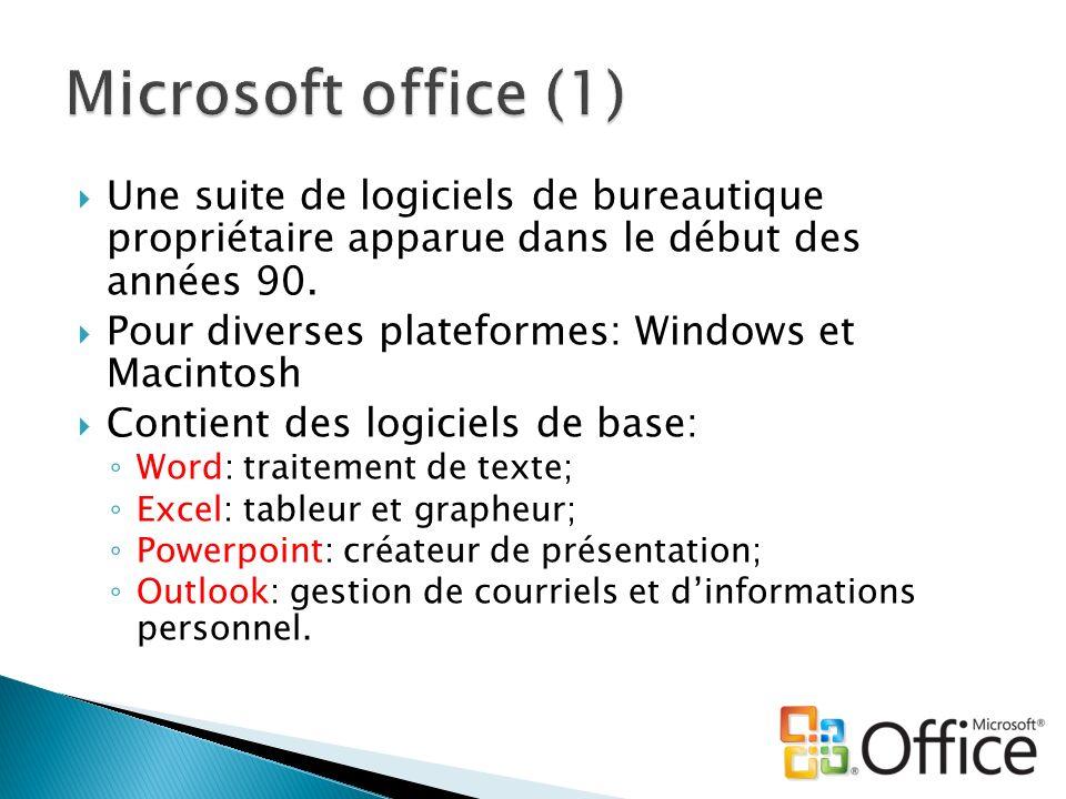 Une suite de logiciels de bureautique propriétaire apparue dans le début des années 90. Pour diverses plateformes: Windows et Macintosh Contient des l
