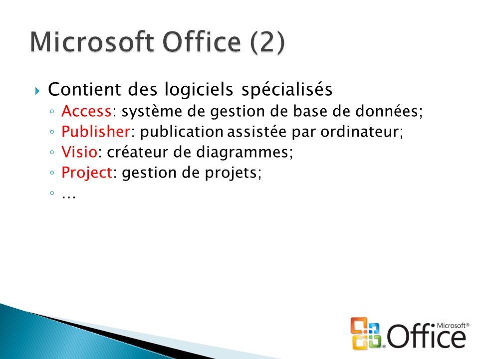 Contient des logiciels spécialisés Access: système de gestion de base de données; Publisher: publication assistée par ordinateur; Visio: créateur de d