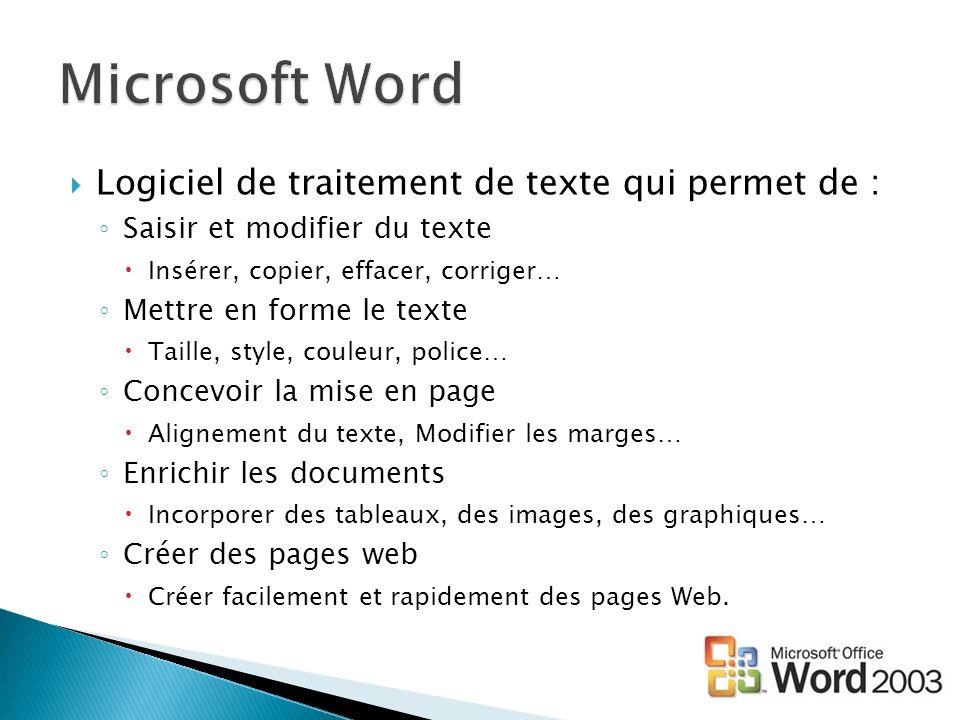 Logiciel de traitement de texte qui permet de : Saisir et modifier du texte Insérer, copier, effacer, corriger… Mettre en forme le texte Taille, style