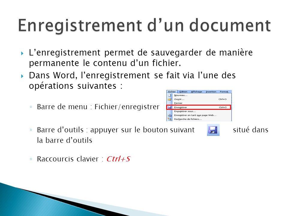 Lenregistrement permet de sauvegarder de manière permanente le contenu dun fichier. Dans Word, lenregistrement se fait via lune des opérations suivant