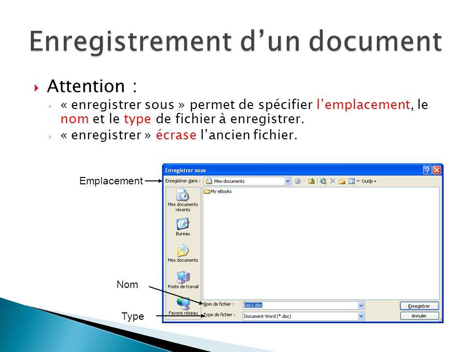 Attention : « enregistrer sous » permet de spécifier lemplacement, le nom et le type de fichier à enregistrer. « enregistrer » écrase lancien fichier.