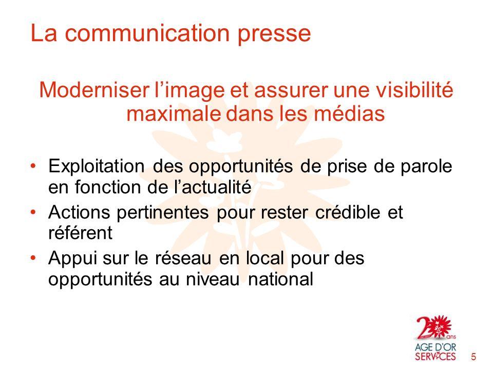 Moderniser limage et assurer une visibilité maximale dans les médias Exploitation des opportunités de prise de parole en fonction de lactualité Action